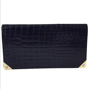 Gucci vintage crocodile leather + 12k gold wallet
